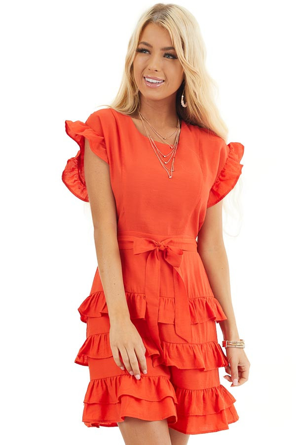 Tomato Red Short Dress with Tiered Ruffle Detail and Tie front close up