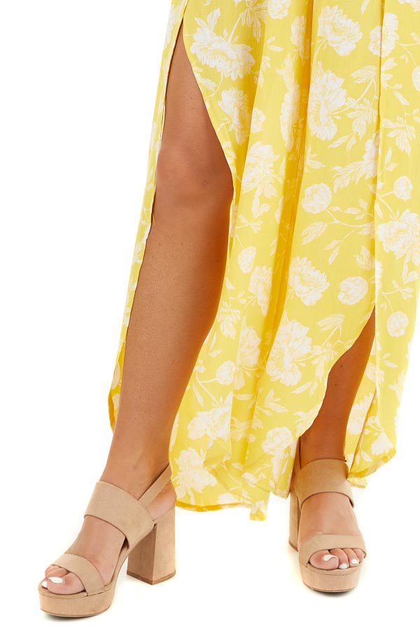 Lemon Yellow Floral Strapless Jumpsuit with Leg Slits detail