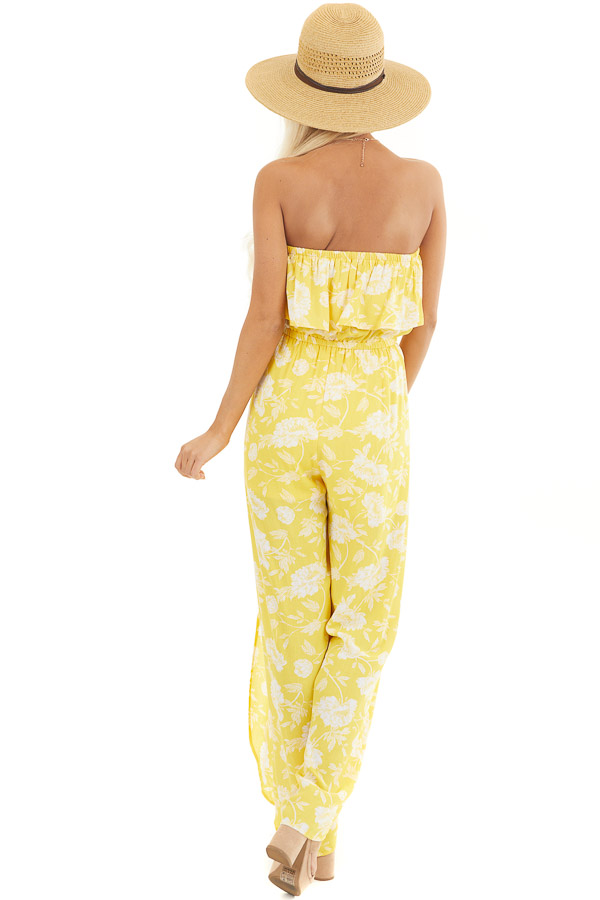 Lemon Yellow Floral Strapless Jumpsuit with Leg Slits back full body