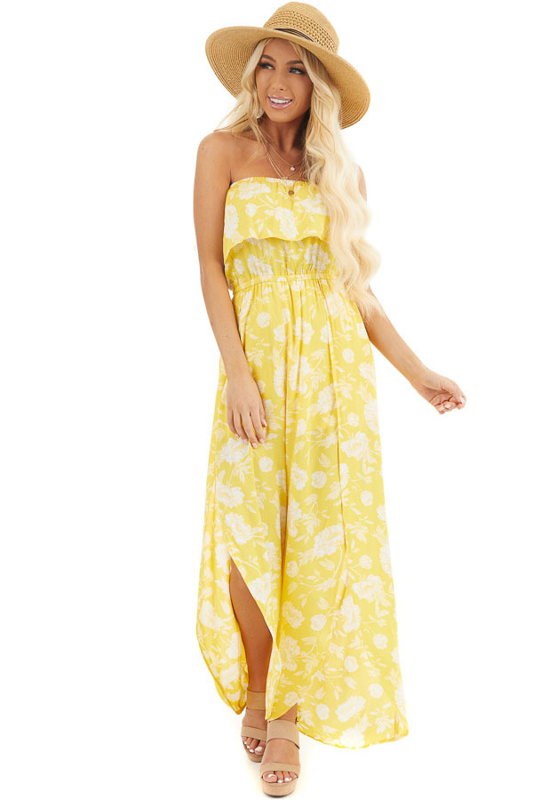 Lemon Yellow Floral Strapless Jumpsuit with Leg Slits front full body