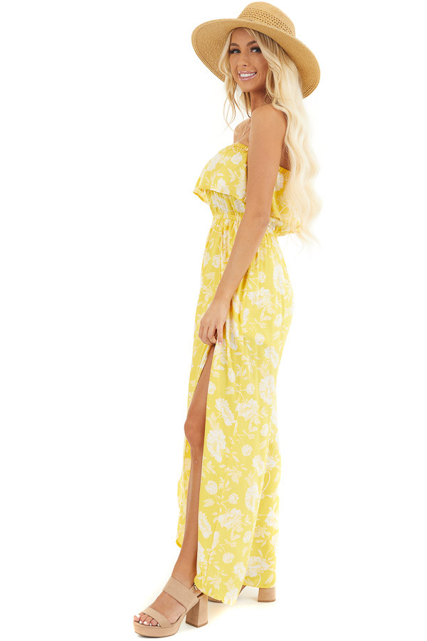 Lemon Yellow Floral Strapless Jumpsuit with Leg Slits side full body
