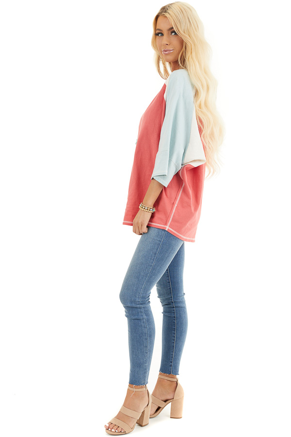 Dark Coral Colorblock Knit Top with Exposed Stitching side full body