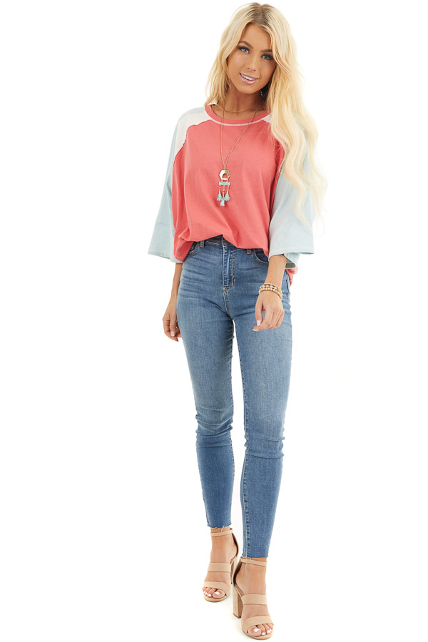 Dark Coral Colorblock Knit Top with Exposed Stitching front full body