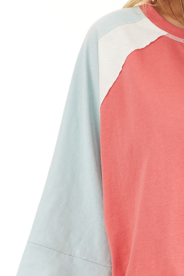 Dark Coral Colorblock Knit Top with Exposed Stitching detail