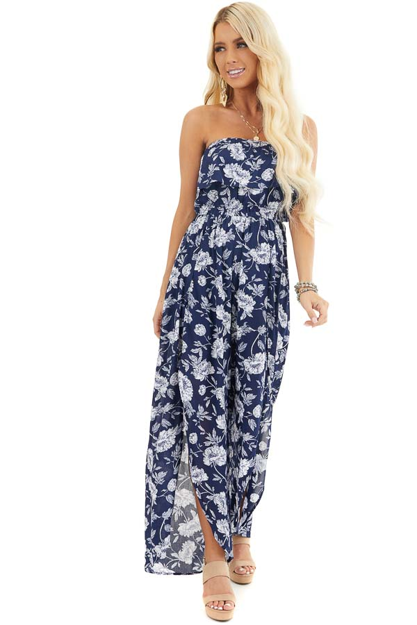 Navy and Ivory Floral Strapless Jumpsuit with Leg Slits front full body