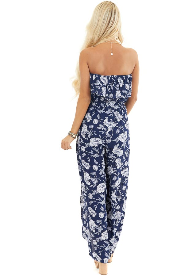 Navy and Ivory Floral Strapless Jumpsuit with Leg Slits back full body