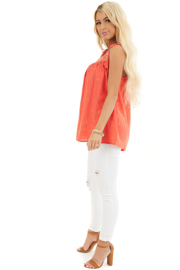 Tomato Red Woven Sleeveless Top with Embroidered Details side full body