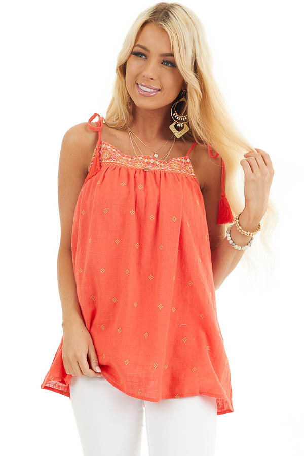 Tomato Red Woven Sleeveless Top with Embroidered Details front close up