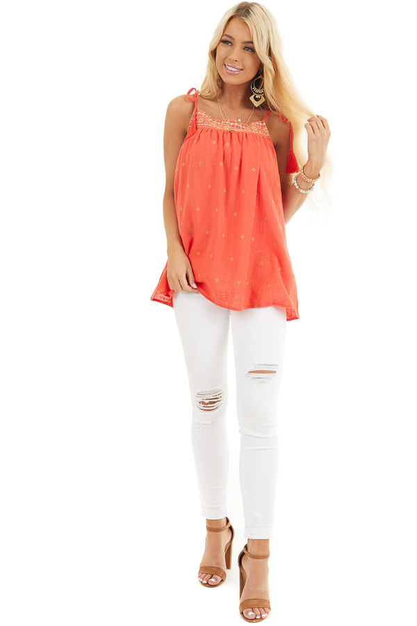 Tomato Red Woven Sleeveless Top with Embroidered Details front full body