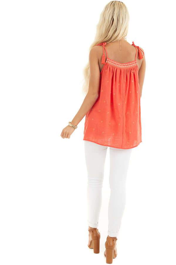 Tomato Red Woven Sleeveless Top with Embroidered Details back full body