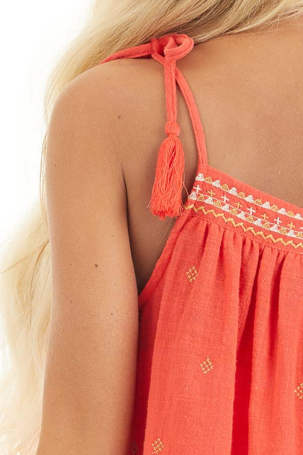 Tomato Red Woven Sleeveless Top with Embroidered Details detail