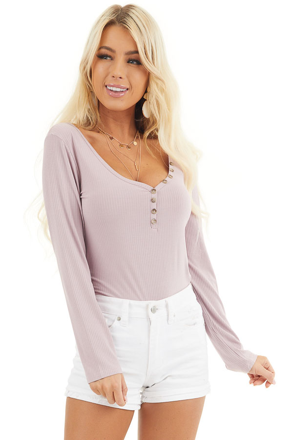 Dusty Rose Ribbed Knit Henley Top with Button Detail front close up