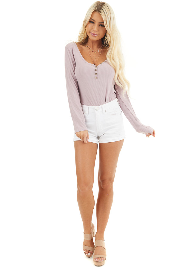 Dusty Rose Ribbed Knit Henley Top with Button Detail front full body