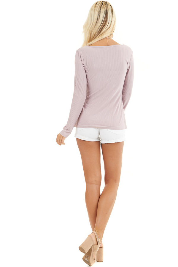 Dusty Rose Ribbed Knit Henley Top with Button Detail back full body