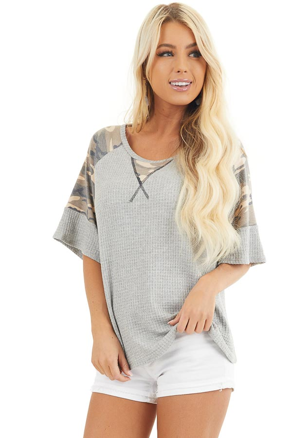 Heather Grey Drop Shoulder Top with Camo Print Contrast front close up