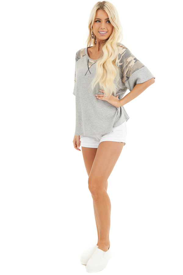 Heather Grey Drop Shoulder Top with Camo Print Contrast front full body