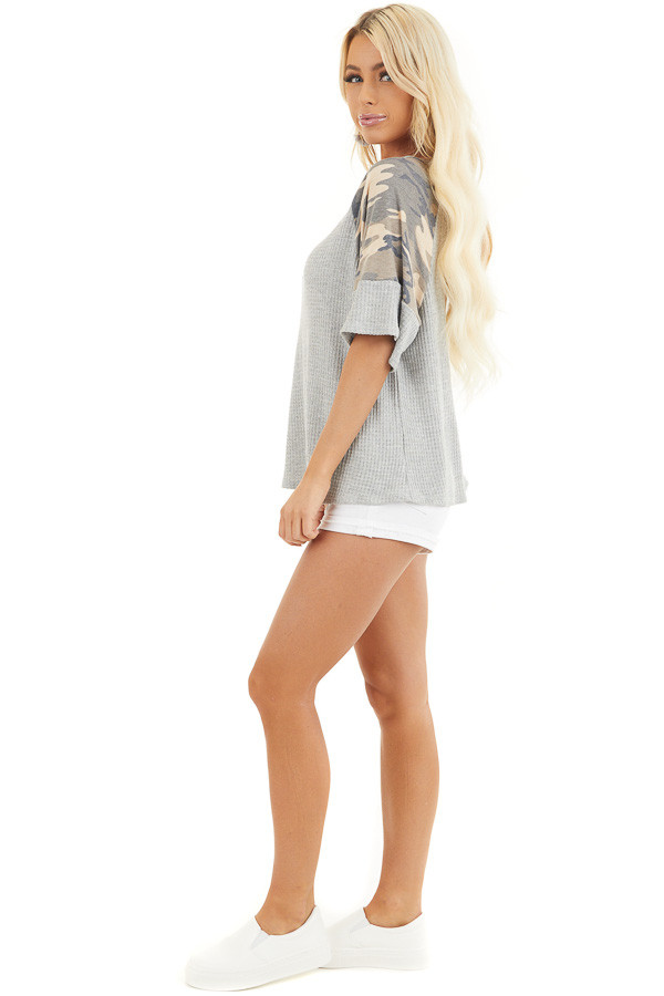 Heather Grey Drop Shoulder Top with Camo Print Contrast side full body