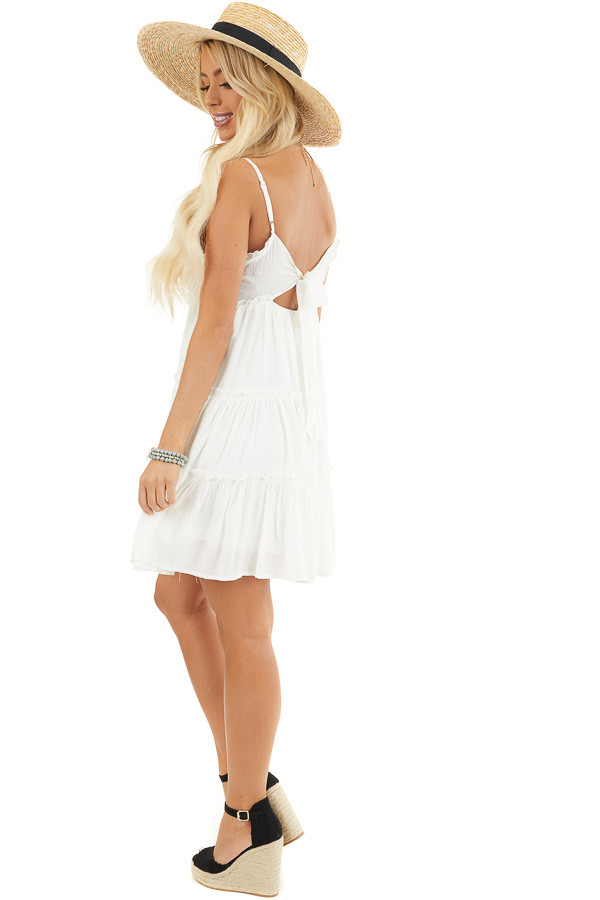 White Tiered Sleeveless Woven Dress with Ruffle Details side full body