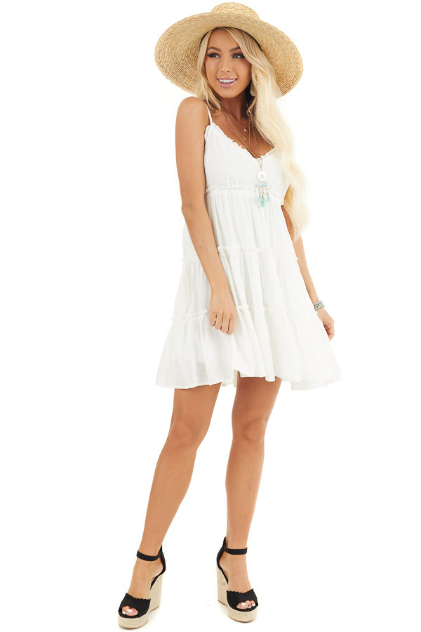 White Tiered Sleeveless Woven Dress with Ruffle Details front full body