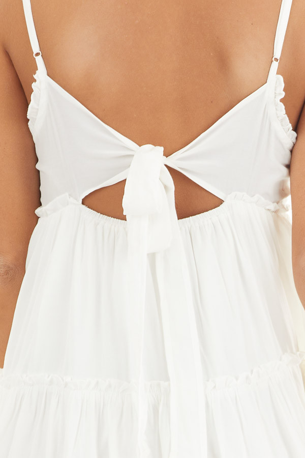 White Tiered Sleeveless Woven Dress with Ruffle Details detail