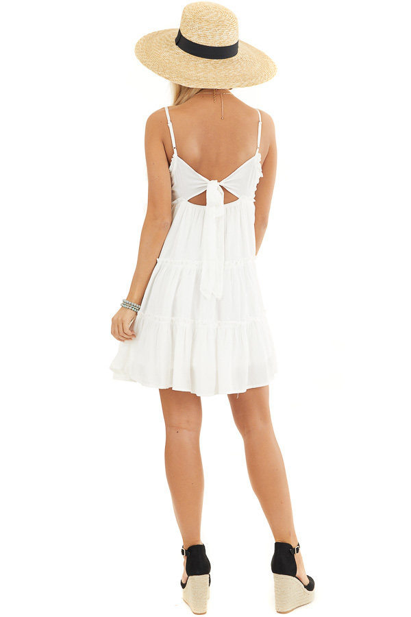 White Tiered Sleeveless Woven Dress with Ruffle Details back full body