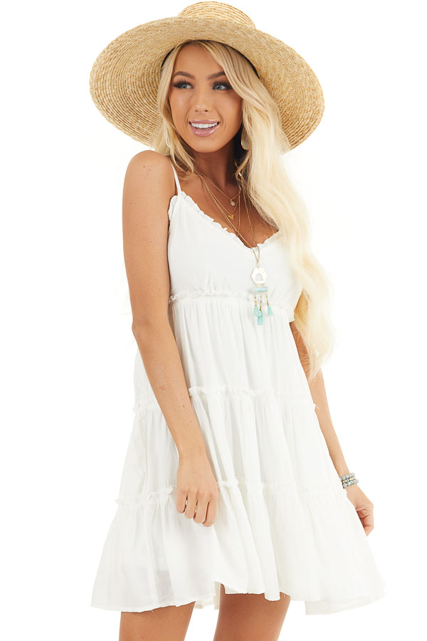 White Tiered Sleeveless Woven Dress with Ruffle Details front close up