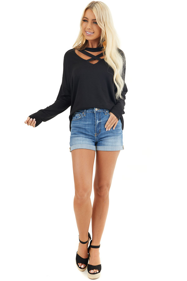 Black Long Sleeve Top with Choker and Criss Cross Details front full body
