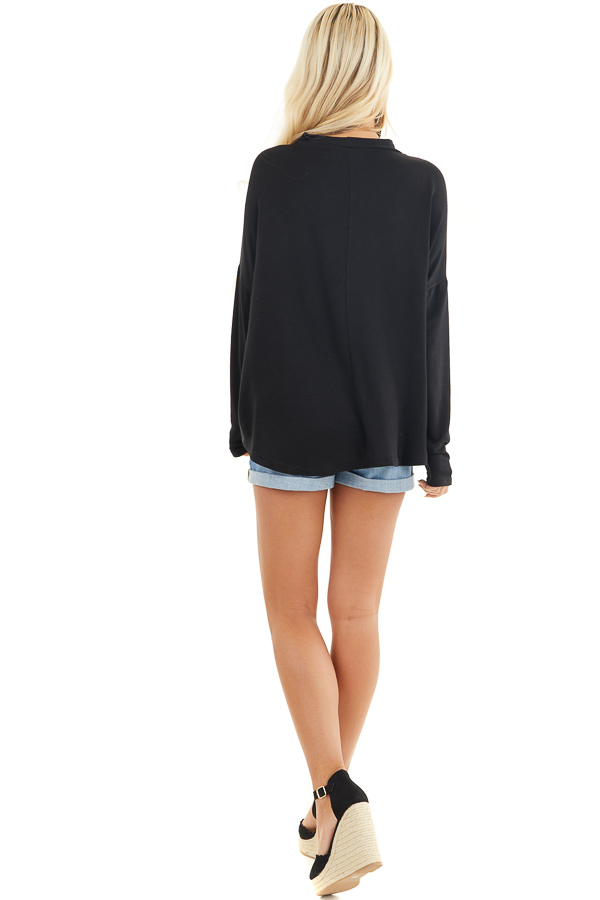 Black Long Sleeve Top with Choker and Criss Cross Details back full body