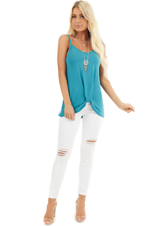 Teal Sleeveless Knit Top with Gathered Pleat Detail front full body