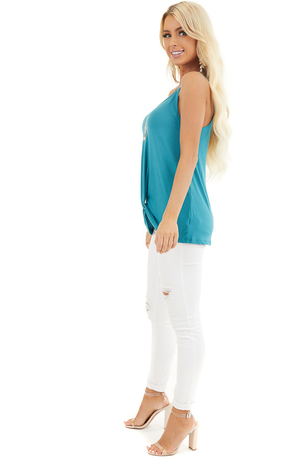 Teal Sleeveless Knit Top with Gathered Pleat Detail side full body