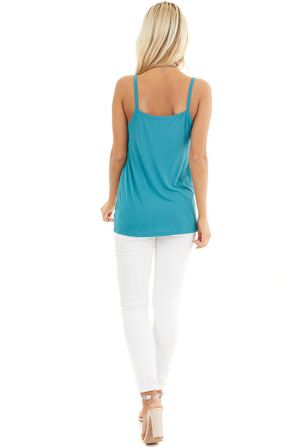 Teal Sleeveless Knit Top with Gathered Pleat Detail back full body