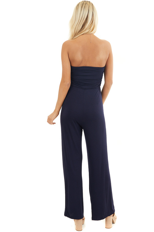 Navy Strapless Jumpsuit with Elastic Waist and Side Ruching back full body