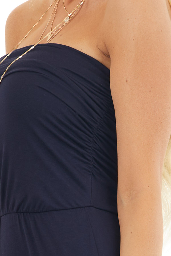Navy Strapless Jumpsuit with Elastic Waist and Side Ruching detail