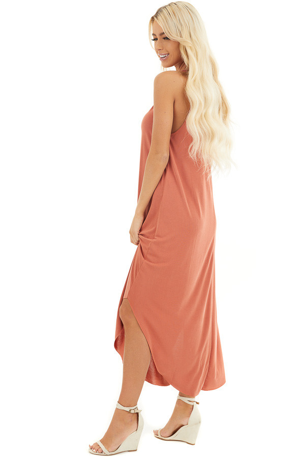Terracotta Maxi Tank Dress with Rounded Hemline side full body
