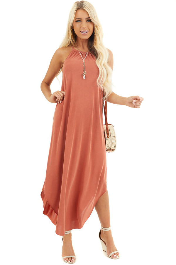Terracotta Maxi Tank Dress with Rounded Hemline front full body