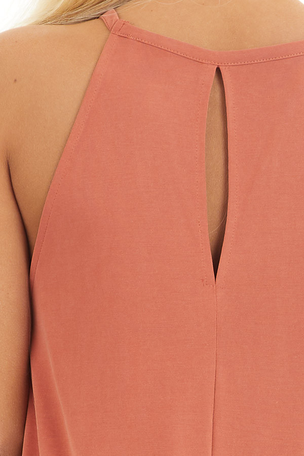 Terracotta Maxi Tank Dress with Rounded Hemline detail