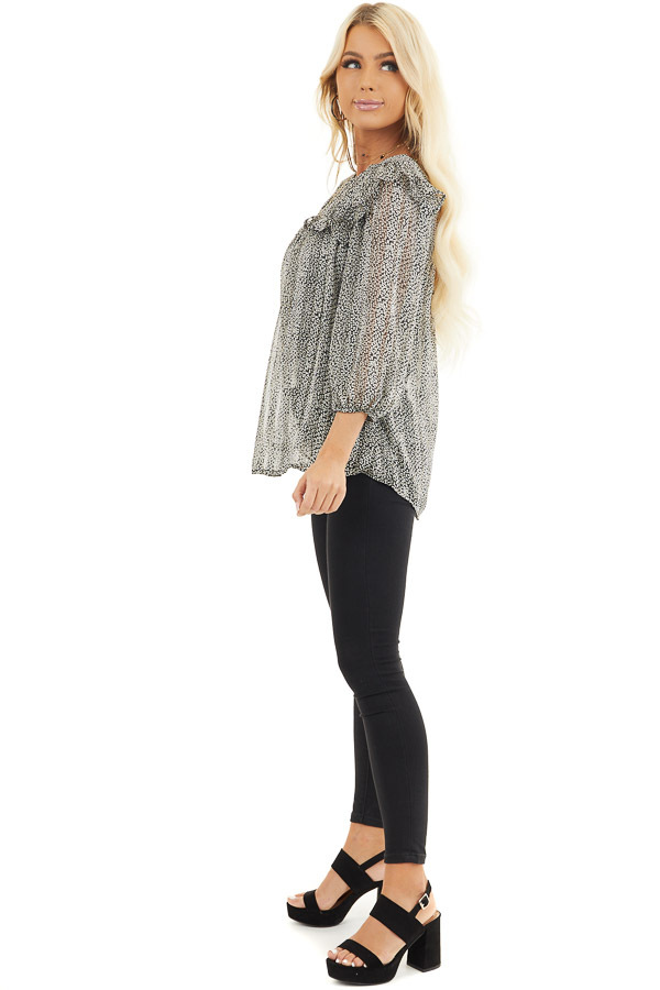 Black and Ivory Printed Sheer Blouse with Ruffle Details side full body