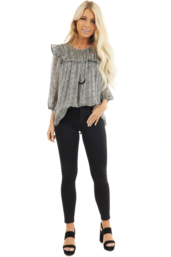 Black and Ivory Printed Sheer Blouse with Ruffle Details front full body