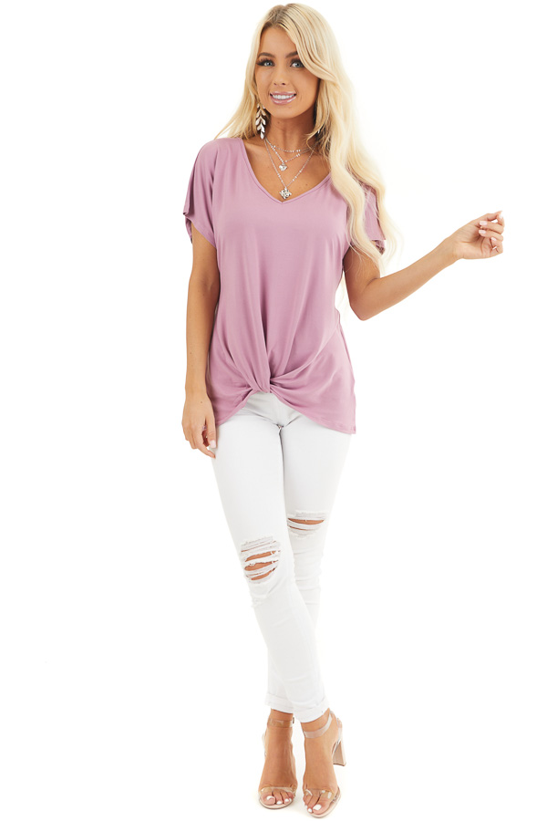 Rich Lilac Short Sleeve Knit Top with Gathered Pleat Detail front full body