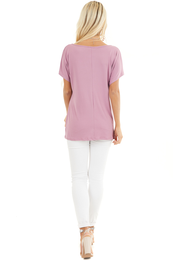 Rich Lilac Short Sleeve Knit Top with Gathered Pleat Detail back full body