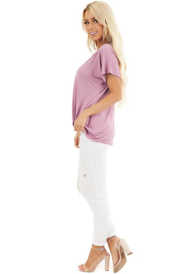 Rich Lilac Short Sleeve Knit Top with Gathered Pleat Detail side full body