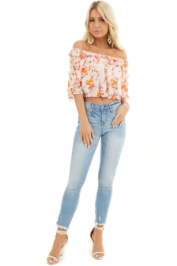 Blush Floral Print Off the Shoulder Crop Top with Ruffles front full body