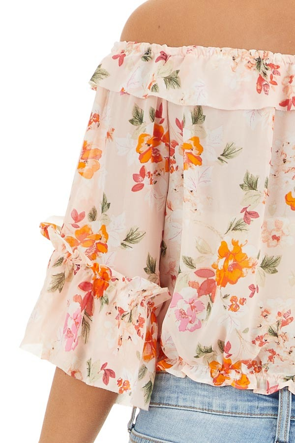 Blush Floral Print Off the Shoulder Crop Top with Ruffles detail