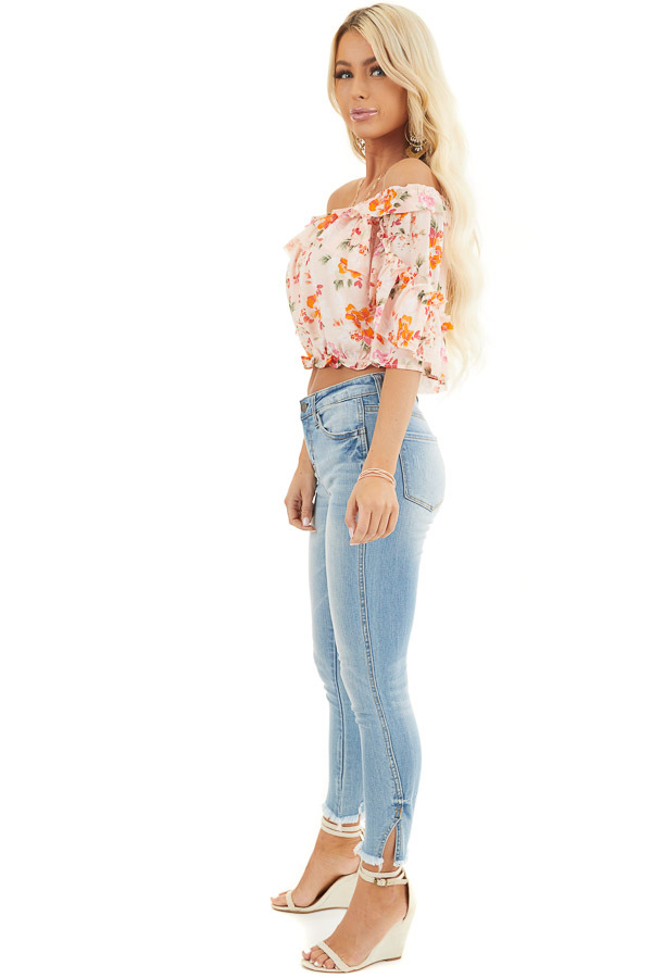 Blush Floral Print Off the Shoulder Crop Top with Ruffles side full body