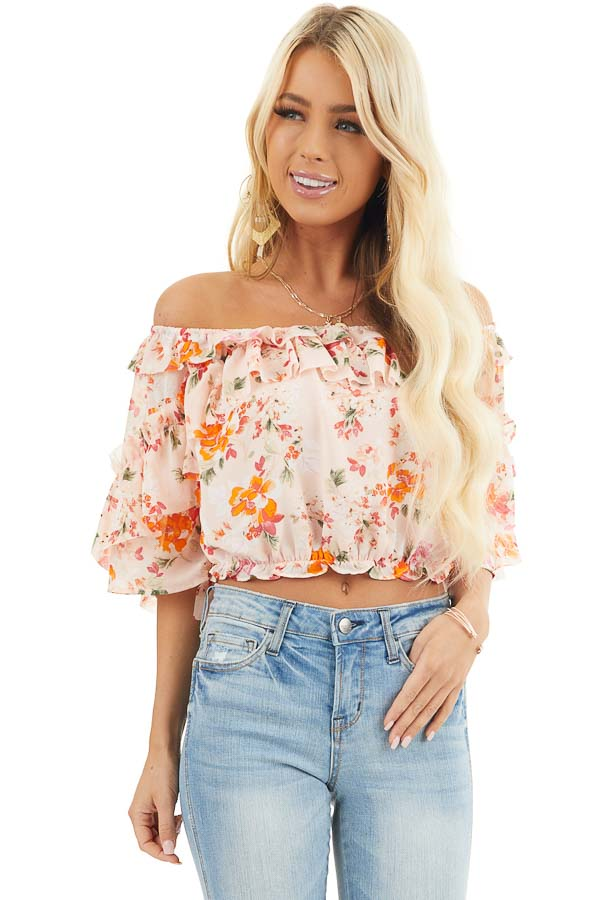 Blush Floral Print Off the Shoulder Crop Top with Ruffles front close up