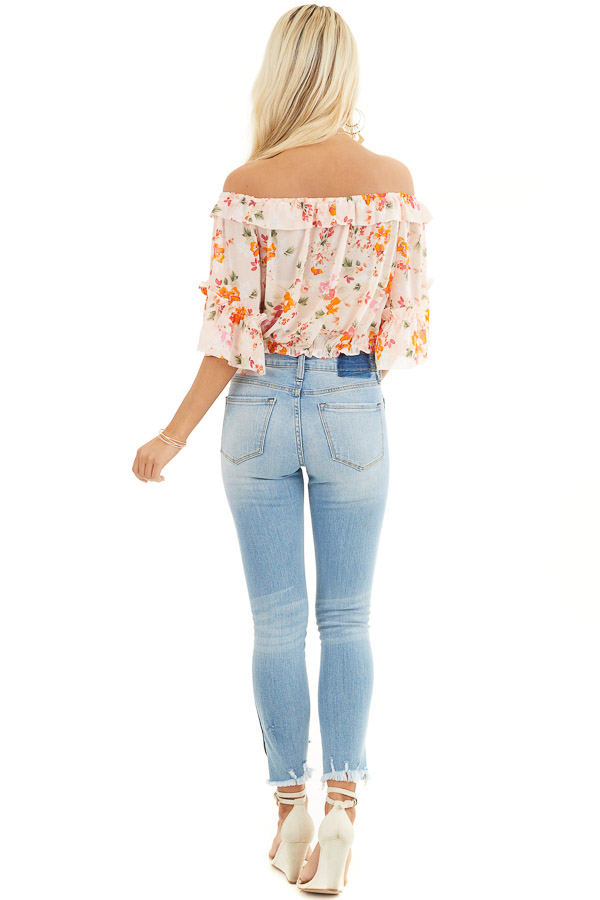 Blush Floral Print Off the Shoulder Crop Top with Ruffles back full body
