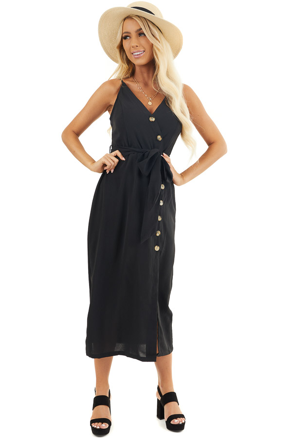 Black Button Up V Neck Midi Dress with Waist Tie front full body