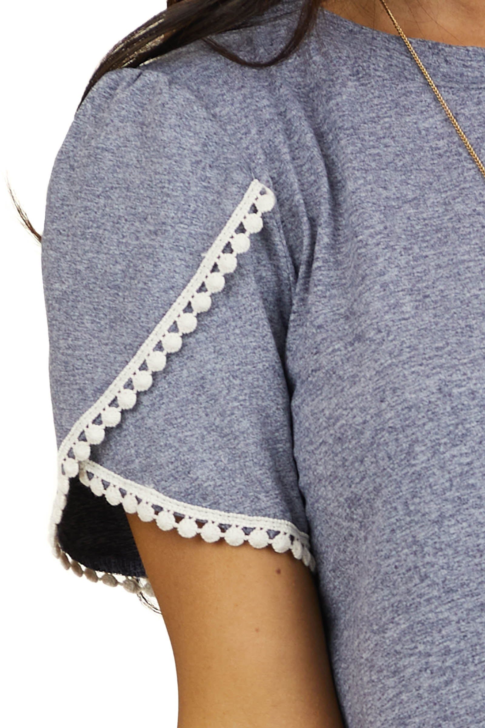 Heathered Slate Knit Top with Cream Crochet Lace Details