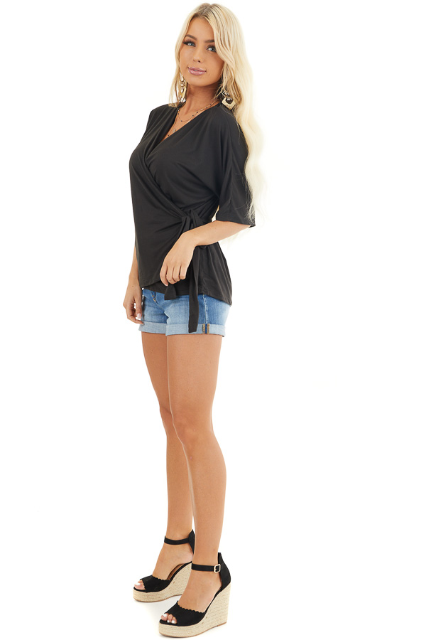 Black Short Sleeve Knit Wrap Top with Side Tie Detail side full body