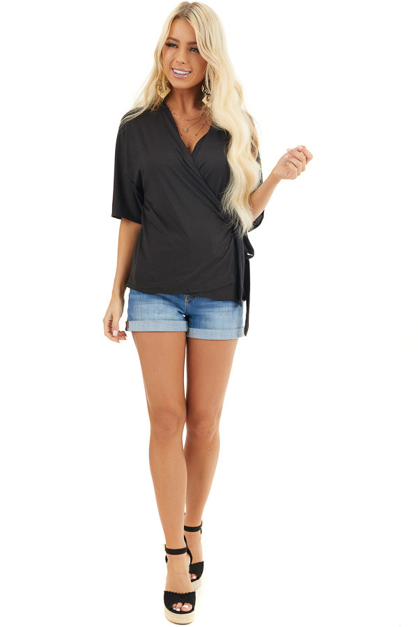 Black Short Sleeve Knit Wrap Top with Side Tie Detail front full body